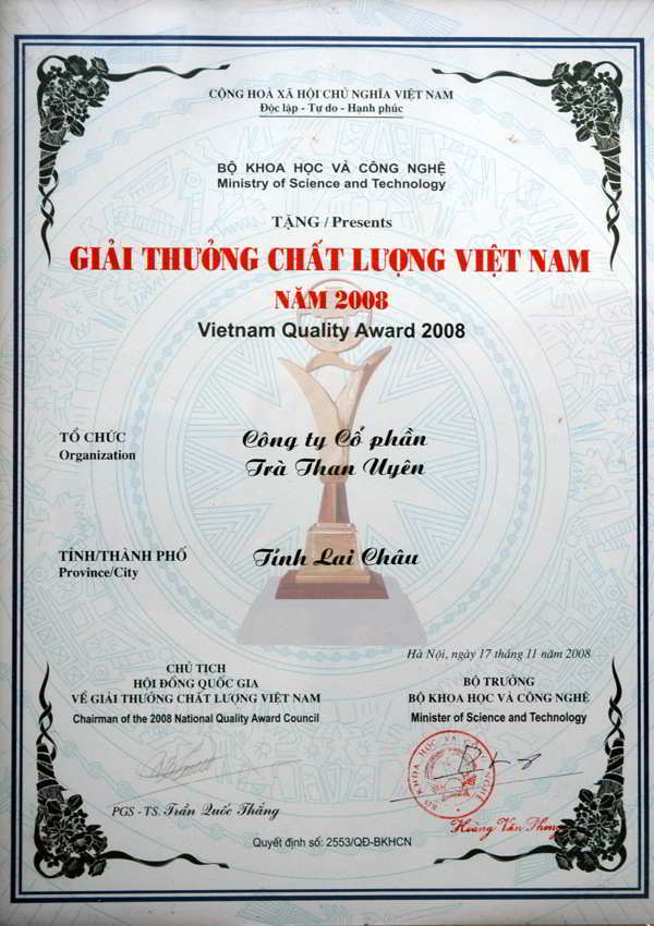 giai thuong chat luong Viet